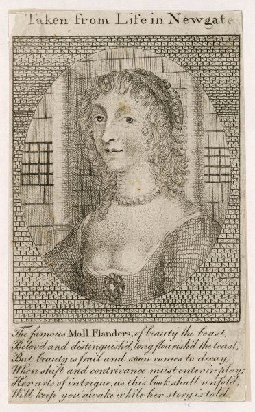 A portrait said to be 'taken from life in Newgate' (prison); designed to give the reader the impression that she was a living person