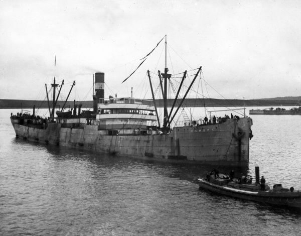 The Australian ship HMAS Zamora at Scapa Flow, Scotland, during the First World War. Date: April 1915