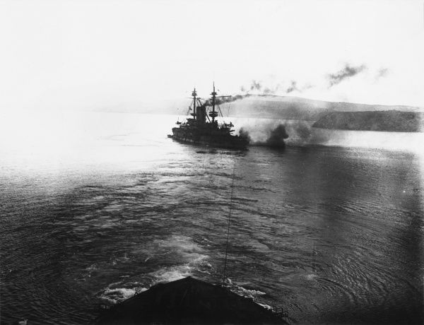 HMS Albion aground at Gaba Tepe at Gallipoli during World War I
