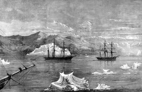 Engraving showing HMS 'Alert' towing HMS 'Discovery' through icebergs, with Disco Island in the background, as seen from HMS 'Valorous' (left foreground) during the British Arctic Expedition of 1875-1876