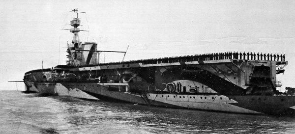 Photograph of HMS 'Furious', aircraft carrier, wearing it's World War One camouflage in 1918