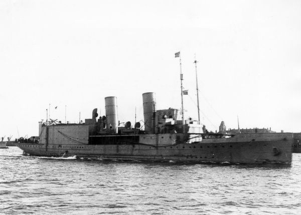 HMS Vindex, a seaplane carrier of the Royal Navy during the First World War, previously a fast passenger ferry for the Isle of Man Steam Packet. Transferred to the Mediterranean in 1918, sold back to original owners in 1920, scrapped 1954. Date