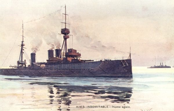 One of three battle-cruisers added to the R N at this time, sister to 'Invincible', she will take part in several notable engagements of WW1 including Jutland. Date: completed 1908