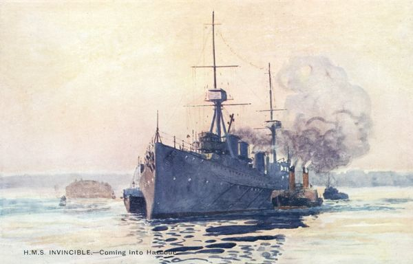One of three battle-cruisers added to the R.N. at this time, she cost L1720739 and will fight in many notable battles of WW1, including Falkland Is. and Jutland. Date: launched 1909