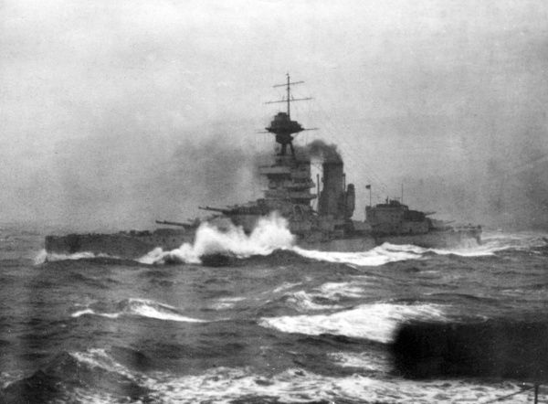 HMS Iron Duke, British battleship, launched 1912, served as the flagship of the Grand Fleet during the First World War, used as a base ship at Scapa Flow during the Second World War, decommissioned 1946. Seen here in a rough sea