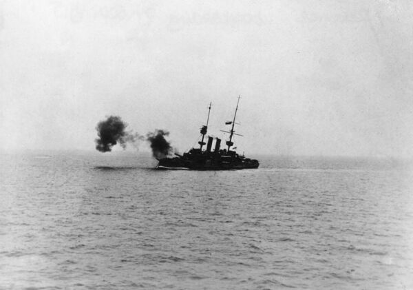 The British battleship HMS Redoubtable (the renamed HMS Revenge) carrying out bombardment duties on German positions off the coast of Flanders during the First World War. Date: 7 September 1915