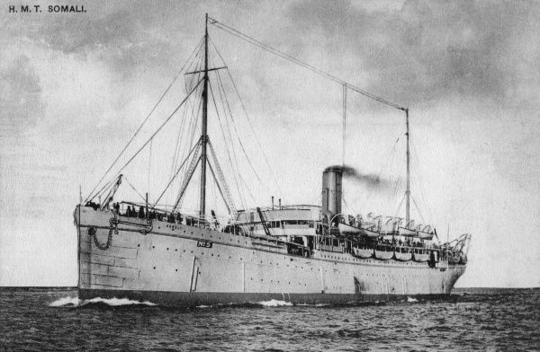 H.M.T. Somali, troopship employed by the British government to carry troops to China and elsewhere. The ship was at Gallipoli in World War One, and had probably been used to transport the 1st Battalion Royal Inniskilling Fusiliers