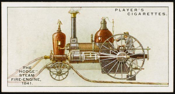 The 'Hodge' Steam fire-engine. The first recorded attempt at fire prevention in New York City was in 1659, and this locomotive-style engine is the first 'native-built' engine