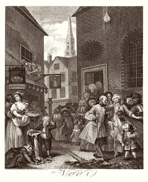 2. Noon A group of Huguenots attend chapel, opposite an eating house - St Giles in the Field is visible in the background