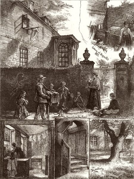 Engraving showing a number of scenes at Hogarth's House, Chiswick, London, 1874. The views shown are (clockwise from bottom right): the Mulberry Tree; the Staircase; one of the rooms, with laundry; a view of the house from the road;