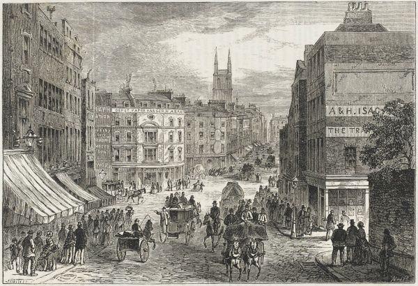 Holborn before the construction of Holborn Viaduct which will be completed in 1869