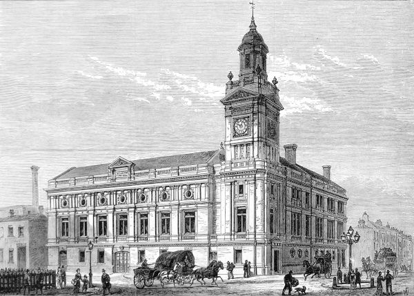 Engraving showing Holborn 'Townhall' in 1880, shortly after it was officially opened. This building was designed to accomodate the public offices of the Holborn District Board of Works