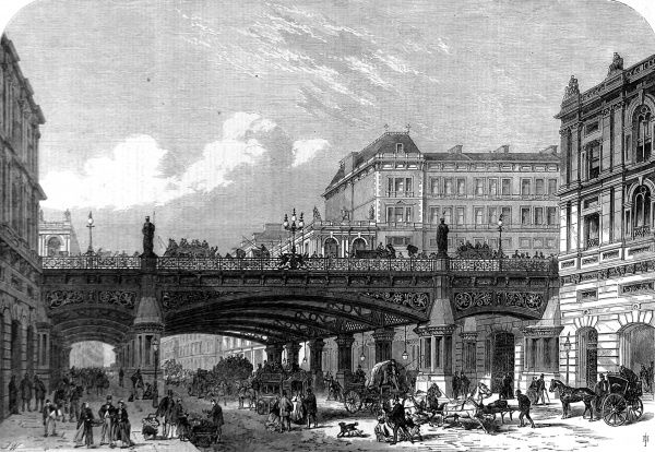 Engraving showing a projection of the Holborn Valley Viaduct in London, which was being constructed in 1867. This view is very accurate in it's depiction of the resulting construction