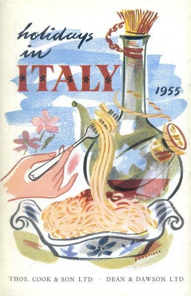 Cover illustration for Holidays in Italy, with Thomas Cook & Son and Dean & Dawson Ltd, showing a wine bottle, and a dish of spaghetti with a hand twirling some of the spaghetti around a fork
