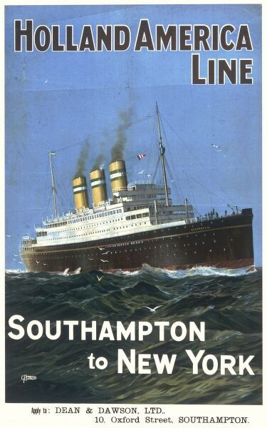 Poster advertising the Holland America Line service from Southampton to New York, featuring a ship steaming ahead across the Atlantic ocean