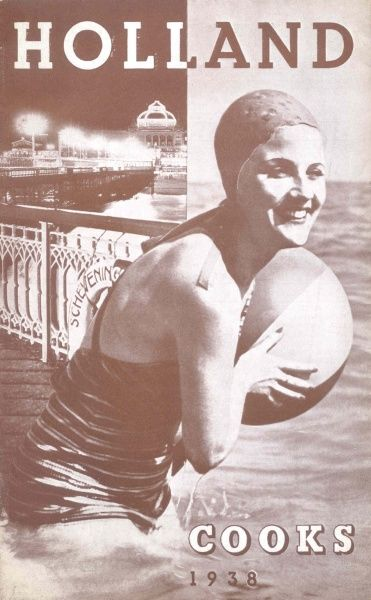 Cover photograph for Holland with Cooks, showing a young woman in a swimsuit and bathing hat in the sea, with a beach ball in her hands. In the background is a night view of the resort of Scheveningen