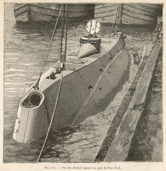 Irish inventor Holland, funded by the Fenians, produces a succession of successful submarines in America ; the 'Holland' is shown at anchor in New York harbour