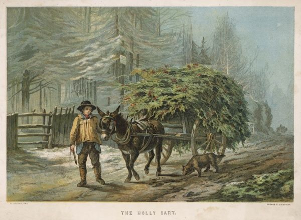 The holly cart passes along a country road