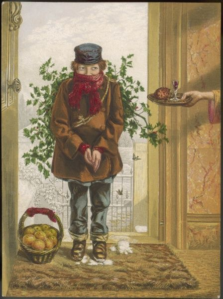 The holly seller is rewarded with a drink and a mince pie even though he is trampling snow into the carpet