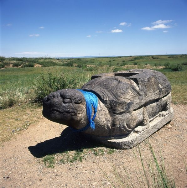 One of the two famous holy stone tortoises or turtles at Karakorum, Mongolia, not far from the walls of the Erdene Zuu monastery