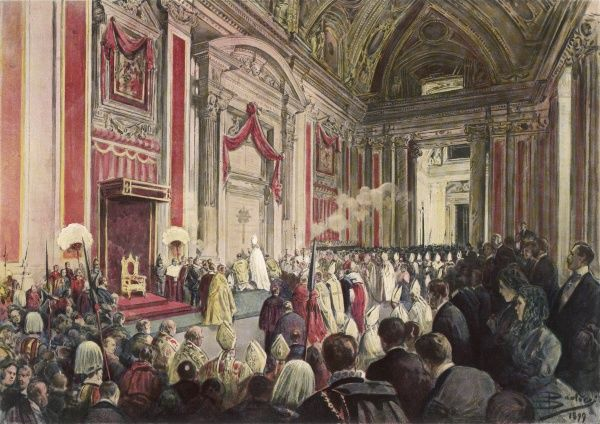 Leo XIII initiates the Holy Year in St Peter's, Rome