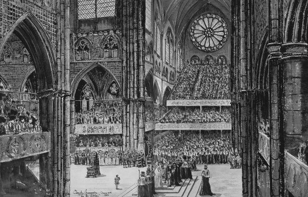 Illustration of the moment in the Coronation Service known as the Homage, when the Archbishops, Bishops, Princes of the Blood Royal and Peers of the Realm repeat the Oath of Fealty