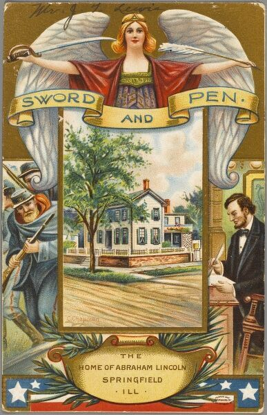 A postcard showing the home of Abraham Lincoln at Springfield, Illinois