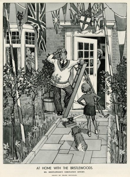 Mr Bristlewoods is putting up bunting outside his home, for the celebration of the Coronation of King George VI, while his wife peers through the window in horror