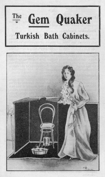 A lady is about to take a Turkish Bath in the privacy of her own home - an 'unfailing remedy' for all manner of ailments