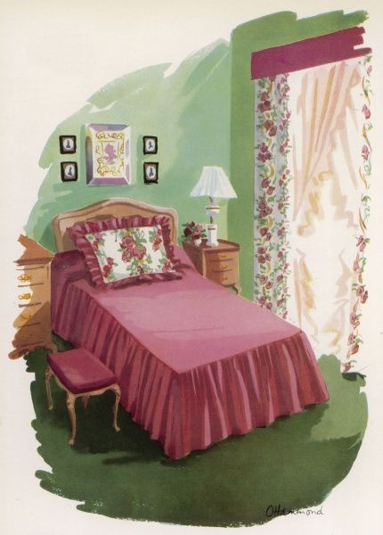 "A bedroom with homemade pelmet, chintz curtains and a ""delightful"" frilled bedspread"