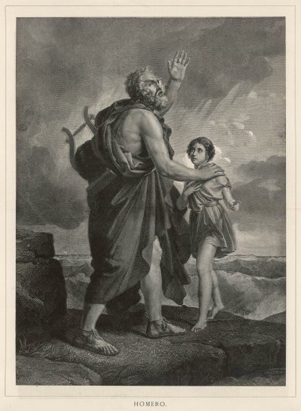Homer, the blind Greek poet, is guided on his travels by a young boy