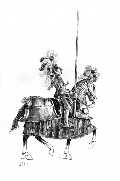 Un homme d'armes - French horse warrior with armoured horse Date