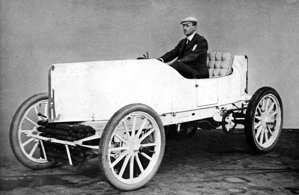 The Hon. C. S. Rolls in his special racing car. The car beat the world record for 1 km, covering the distance in 27 secs, equal to 83mph. Rolls later died in 1910 in a plane crash