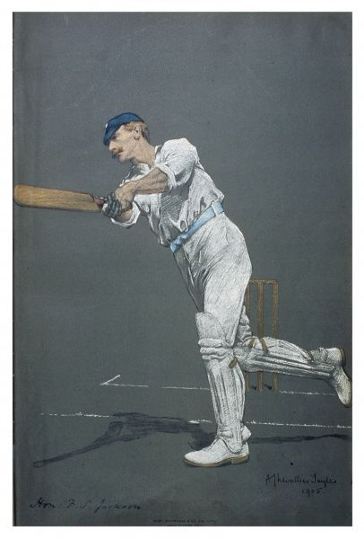 The Hon. Francis Stanley Jackson finishing an off- drive. Cricketer for Yorkshire and England
