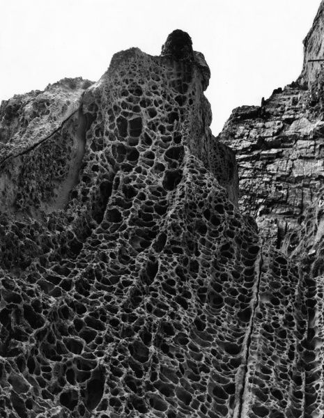 A fine study of rock, honeycombed by the wave action at Elgol, Isle of Skye, Scotland. Date: 1960s