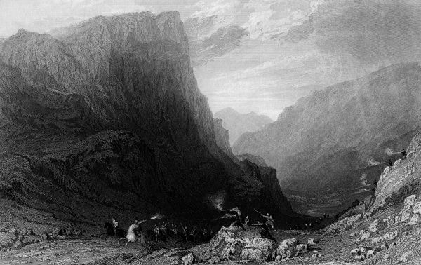 Honister Pass, Cumbria, is a formidable natural obstacle in its own right, but in this print it seems that some travellers have been caught in a Western-style ambush. The hill behind is Honister Crag. Date: 1833