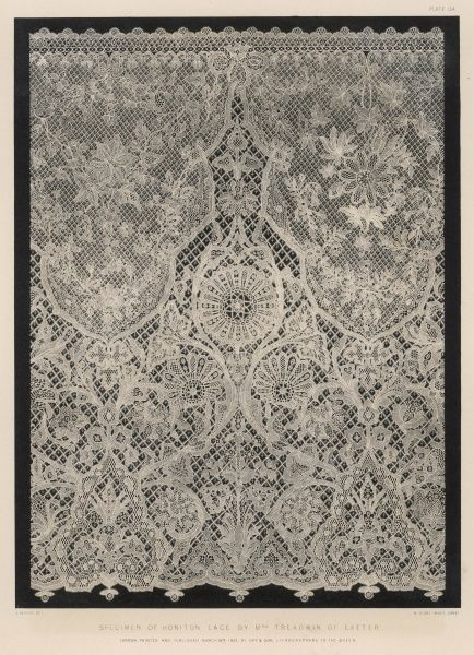A fearsomely intricate example of Honiton (Devon) lacework, exhibited by Mrs Treadwin of Exeter at the Crystal Palace exhibition