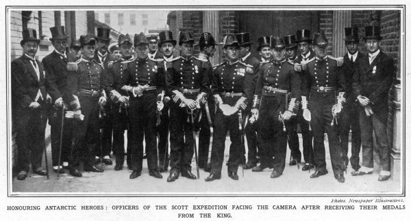 Officers of the Scott Expedition to the South Pole facing the camera after receiving their medals from the King at Buckingham Palace on July 26th 1913