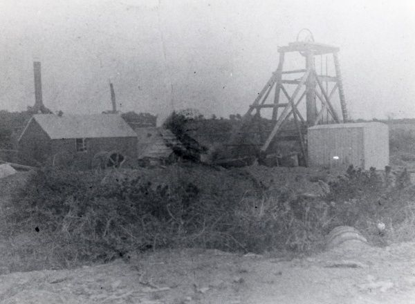 A view of Hook Colliery, near Haverfordwest, Pembrokeshire, South Wales, showing the wooden headframe