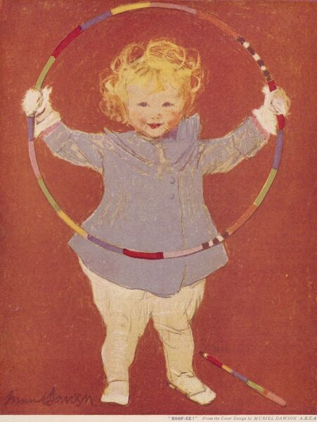 A happy little girl in a blue coat with mittens holds up a colourful hula hoop