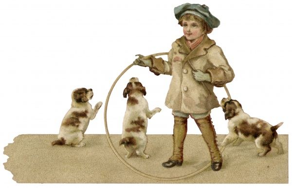 A boy with a hoop and three excited puppies. Date: circa 1890