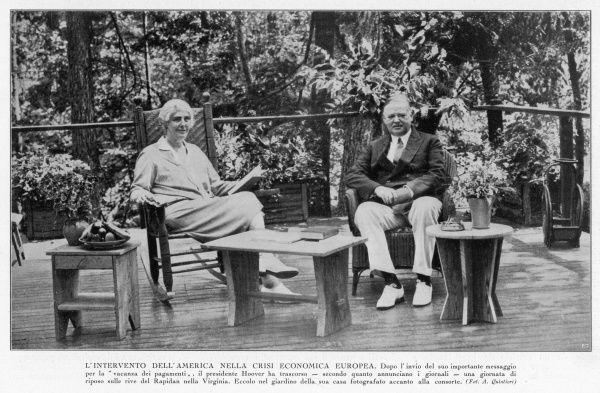 HERBERT HOOVER The American president and his wife relax in their garden