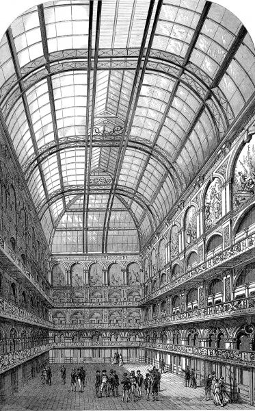 Engraving showing the interior of the Hop and Malt Exchange, London, 1867