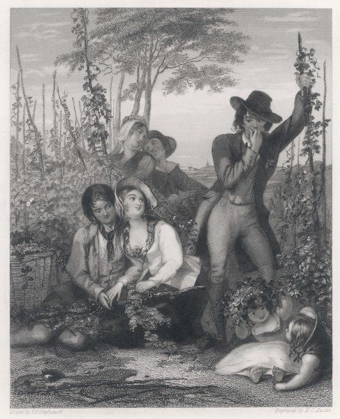 A young hop picker, though dallying with one companion, looks sympathetically at another who has either cut his finger, or is gnawing his knuckles with jealousy