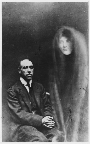 Spirit photo of Houdini and spirits, a confessed fake by William Hope