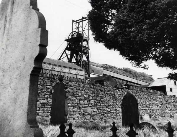 View of Hopkinstown Colliery, Rhondda Valleys, Glamorgan, South Wales, as seen from the cemetery