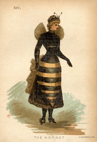 Fancy dress costume suggestion for 1884. Why not go as a hornet. All you need is a short black dress, black satin boots, a tunic pointed front and back of black and gold stripes worn with a black satin bodice and green and black gauze wings