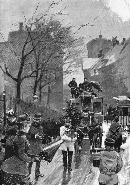 A horse bus makes its way through the slushy Amagertorv, Copenhagen, at Juletid (Yuletide) : a pedestrian carries home a Christmas tree. Date: 1888