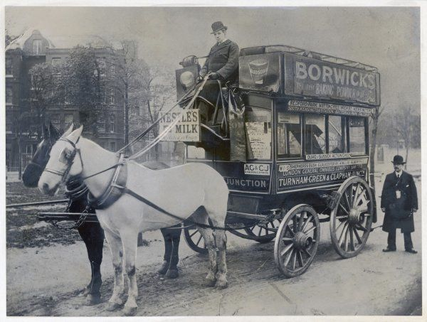 This horse bus of the London General Omnibus Company plies between Turnham Green and Clapham, in south London