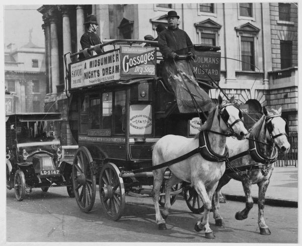 A Horse-drawn bus operating the Waterloo Station to Somerset house route